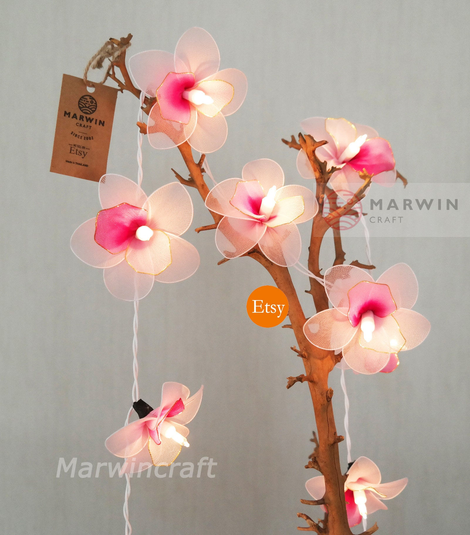 20 Light Pink Orchid String Lights Flower Fairy Lights Bedroom Etsy
