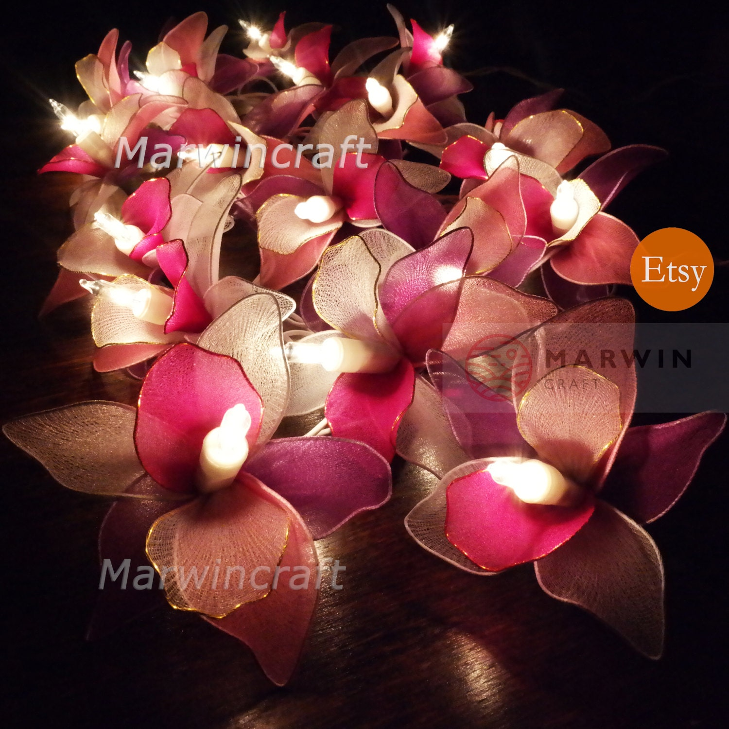 20 White Pink Purple String Lights Orchid Flower Fairy Lights Etsy