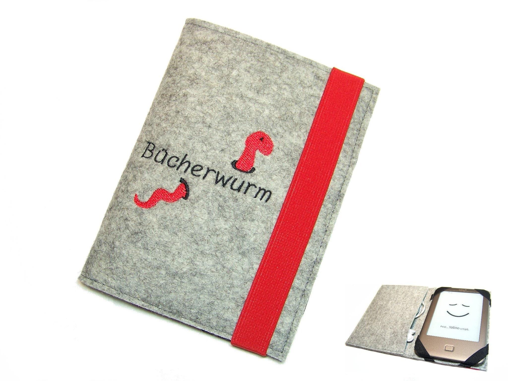 Hinged ebook Reader ereader tablet sleeve bookworm embroidery wool felt  felt measure up to 8 0
