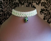 Green Egg Choker, ovoid glass bead on Vintage Pink Braid Trim, Steampunk, Victoriana, Lolita