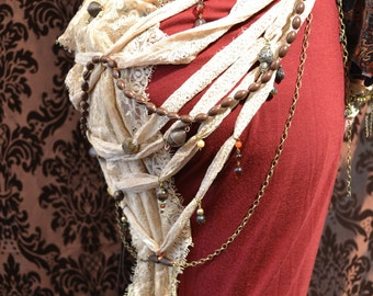 Multiway Hip Chain, Necklace, Headdress for Tribal Steampunk Bellydance 'CloudDancer Ameera'