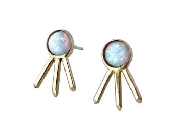 Opal Crystal Cluster Earrings