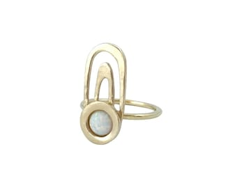 Ripple Ring with Opal