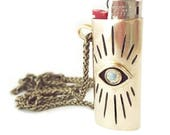 Vision Lighter Case Necklace for Mini Bic Lighters // Evil Eye Lighter Case, Smoking Accessory