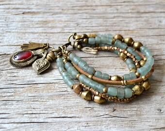 Bohemian bracelet, hand jewelry, beaded boho bracelet, hippie gypsy tribal jewelry, gift for her, LAST ONE