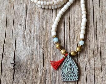 Buddha yoga necklace, bohemian necklace, ethnic jewelry, tassel jewelry, yoga jewelry, gift for her, Valentines Day
