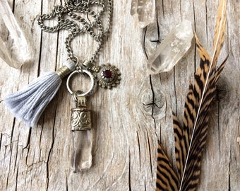 Crystal necklace, bohemian tassel jewelry, boho jewelry, quartz point necklace, bohemian jewelry, gift for her, Valentine's gift