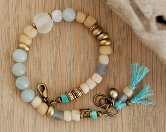 beaded bracelet with turquoise, amazonite, glass, moss agate, tassels - CIJ sale - christmas in july