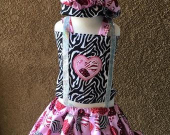 Animal print, zebra, leopard, hearts. Valentines,set, OOC, Boutique Style,size NB, 3, 6, 9 18, 12, 24 months, 2T, 3T,4T, 5T