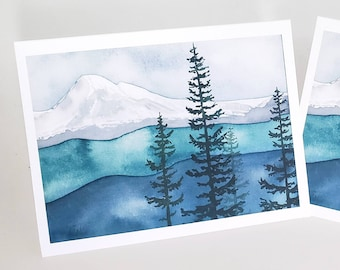 Mt. Baker watercolor - Blank Greeting Cards - A2 size - Pacific Northwest - Cascade Mountains