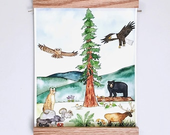 8x10 PRINT - Redwood Forest Flora & Fauna - Watercolor Art