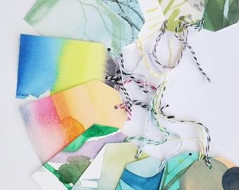 Watercolor Gift Tags - Set of 12 - Original paintings