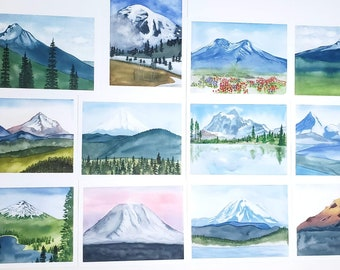 Cascade Mountain Range watercolor paintings - Blank Greeting Cards - Boxed set of 12 - A2 Size - choose quantity