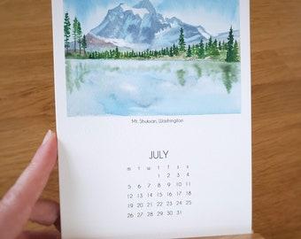 2022 Desk Art Calendar 5x7 - Cascade Mountains - Watercolor Art - with Wooden Stand optional