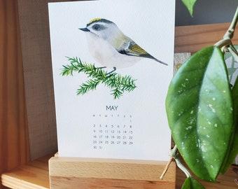 Birds 2.0 - 2022 Desk Art Calendar 5x7 - PNW - Watercolor Art - with Wooden Stand optional