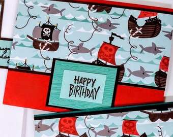 Pirate Ships & Sharks Birthday Cards - boxed set of 6