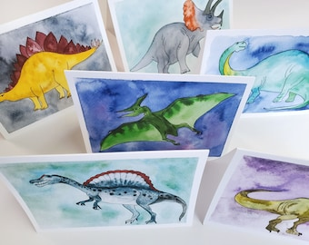 Dinosaurs Watercolor - Blank Greeting Cards - Boxed Set of 6 prints - A2 size - Fun Backgrounds