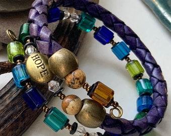 HOPE recovery charm bracelet for men or women, alcoholics anonymous recovery charm bracelet, sponsor sponsee gift