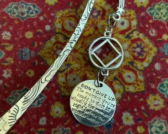 Don't Give Up recovery bookmark, NA bookmark, narcotics anonymous large bookmark, sponsor gift, 12 step recovery