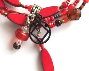 NA sobriety bracelet, clean and sober,narcotics anonymous recovery jewelry, sponsor gift, 12 step bracelet, just for today, red and black