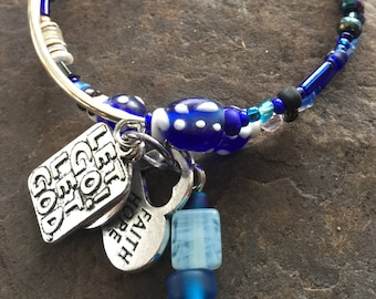 Blue AA serenity charm bracelet, alcoholics anonymous, sponsor gift, faith,hope,love, let go let god, sobriety bracelet, recovery jewelry
