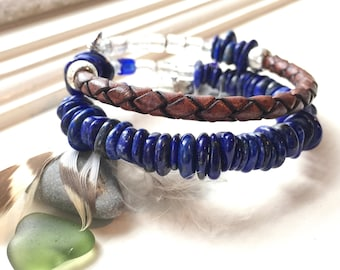 Lapis and leather recovery bracelet, NA sobriety bracelet, narcotics anonymous, AA NA sober bracelet, just for today,sponsor gift