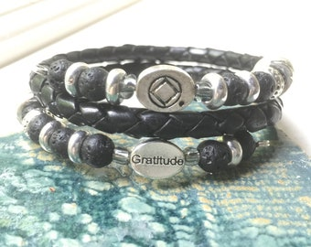 Men's or women's black woven bolo leather and lava gratitude recovery charm bracelet, narcotics anonymous men's NA bracelet, NA sponsor gift