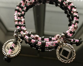 NA sobriety recovery bracelet,pink and black,alcoholics anonymous,just for today, AA NA sponsor anniversary gift,clean and sober bracelet
