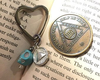 AA  keyring, rule 62, recovery keyring, 12 step sponsor gift, alcoholics anonymous, choice of four