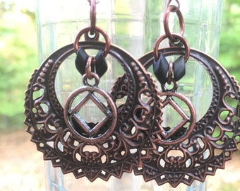 Large copper NA AA alcoholics narcotics anonymous earrings, sponsor sponsee gift, recovery earrings, copper dangle drop earrings