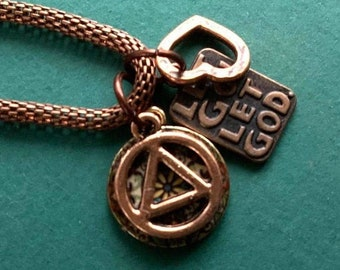 Recovery AA NA necklace, Let Go Let God, heart, Mandala, 18 inch copper chain, Sobriety gift, add your own additional charms. Fantastic gift
