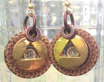 Alcoholics anonymous gold tone AA charm recovery earrings, mandala charm, alcoholics anonymous, sponsor sponsee gift, AA recovery jewelry,