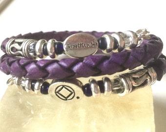 Men or women's purple bolo leather gratitude recovery bracelet,12 step bracelet, narcotics anonymous,mens NA bracelet,NA sponsor gift