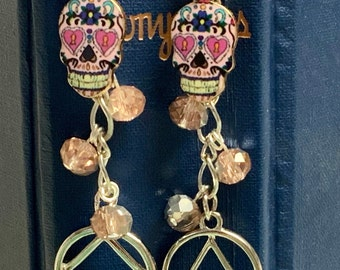 Pink Skull recovery bookmark, NA AA, narcotics alcoholics anonymous bookmark, sponsor gift, for your favorite book, just for today