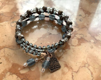 Recovery slate blue sobriety bracelet NA AA narcotics alcoholics anonymous,montana sapphire glass beads, copper spacers, lotus charm
