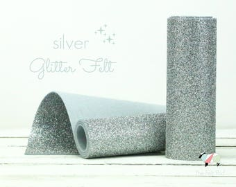 Glitter Felt - SILVER Glitter Felt  - Wool Felt Glitter - Fine Glitter - Wool Felt