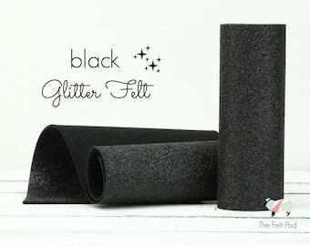 Glitter Felt - BLACK Glitter Felt  - Wool Felt Glitter - Fine Glitter - Wool Felt