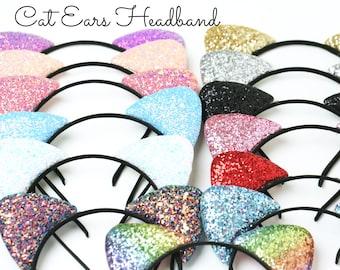 2c9d29a11eec Cat Ears Headbands | Glitter Cat Ears | Chunky Glitter Cat Ears Headband