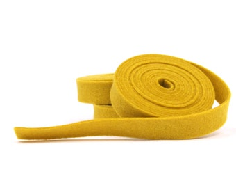 Wool Felt - 100 Percent Wool Felt Ribbon in color MUSTARD - 1 2 Inch X 2  Yards - Merino Wool Felt - Yellow Ribbon - Mustard Ribbon d7d6d67c13be