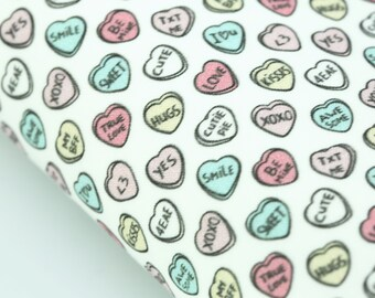 Conversation Candy Hearts Fabric Felt  | Felt Backed Fabric |  Valentine Fabric Felt | Valentine Felt Back  | Hearts Fabric Felt