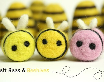 Felted Bees Needle Felt Bees Honey Bee Decor Felt Accessories Wool Bee Felt Bee 10 Pcs Bee Decor Felt Humble Bee Felt Shapes