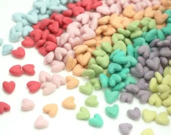 Felt Hearts -   2 cm Felt Hearts - Mini Wool Felt Valentine Hearts || Wool Felt Hearts  || Tiny Hearts