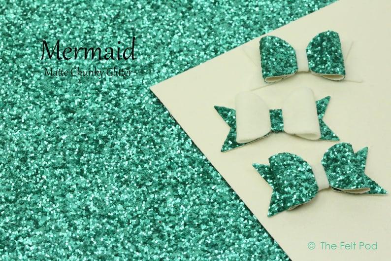 Chunky Glitter Fabric Sheet / Coarse Glitter Canvas / Teal image 0