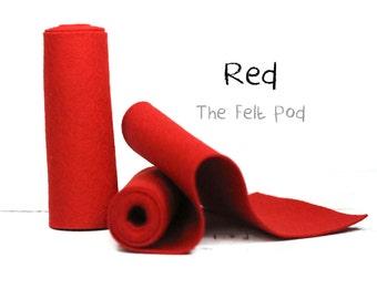 "Wool Felt Roll - Wool Felt Color RED - 5"" X 36"" Wool Felt - Red Wool Felt // 100% wool felt"