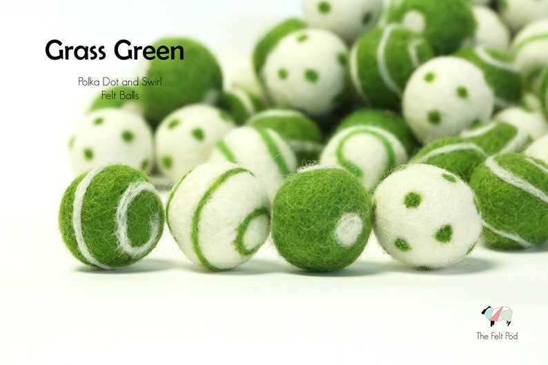 Grass Green Polka Dot Felt Balls // Grass Green Swirl Felt Balls