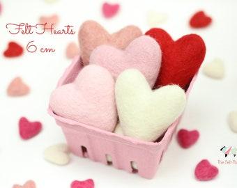 Wool Felt Hearts // 6 cm and 9 cm Felt Hearts // Baby Photography Prop // Medium  and Large Felt Hearts // Valentine Felt Hearts
