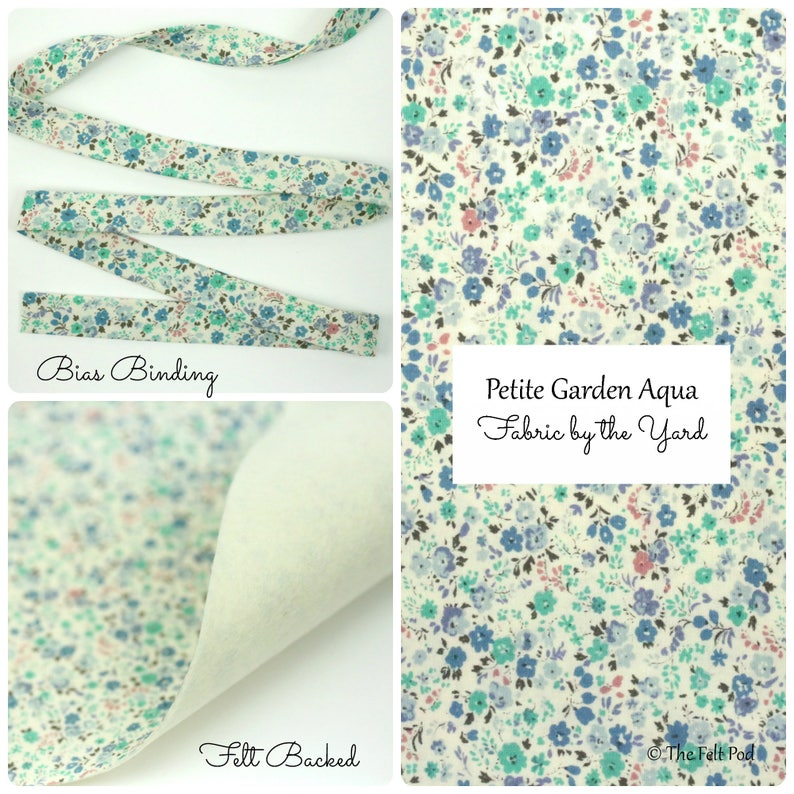Sevenberry Petite Garden Aqua  Robert Kaufman Sevenberry  Bias Binding  Bias Tape  Fabric Felt  Felt Backed Fabric