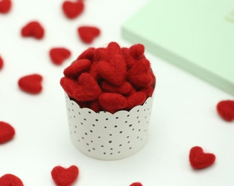 Felt Hearts -  3 to 4 cm - 10 count - Color RED - Wool Felt Hearts