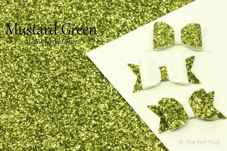 Chunky Glitter Fabric Sheet / Coarse Glitter Canvas / Green image 0