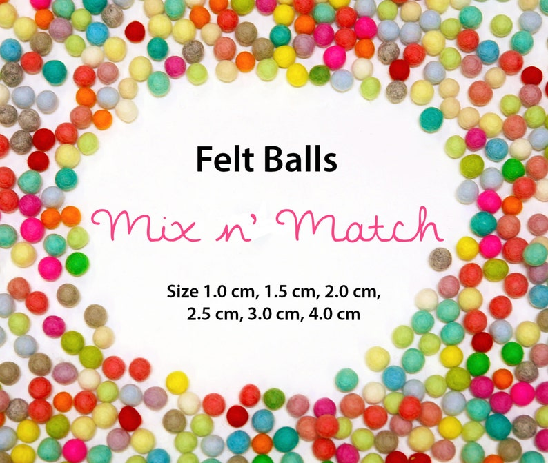 Felt Balls  Rainbow Pack  Sizes 1.0 cm 1.5 cm 2.0 cm 2.5 image 0